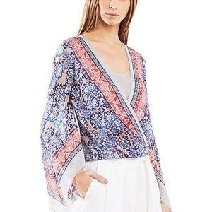 BCBGMaxazria Kasia Top Sz L 100% Silk Drape Sleeve